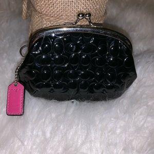 Coach black coin purse